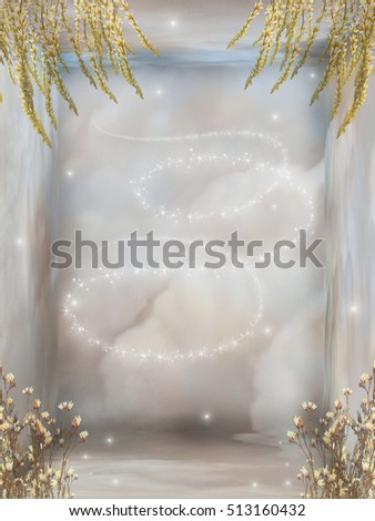 fantasy room with flowers 3D rendering