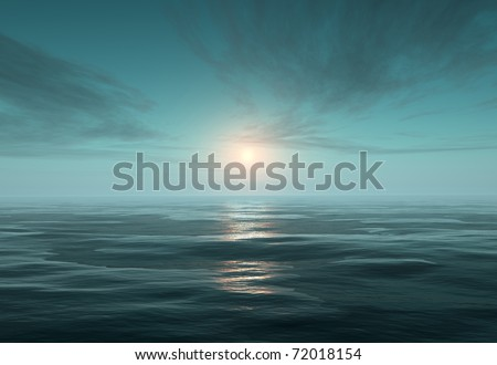fantasy scene tranquil ocean - stock photo