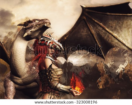 Fantasy scenery with a girl in armor, holding fire and standing by a dragon - stock photo