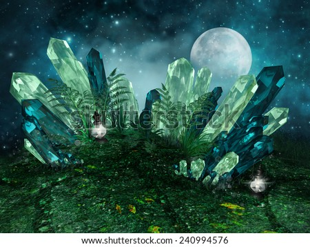 Fantasy scenery with colorful crystals, lanterns and the moon - stock photo