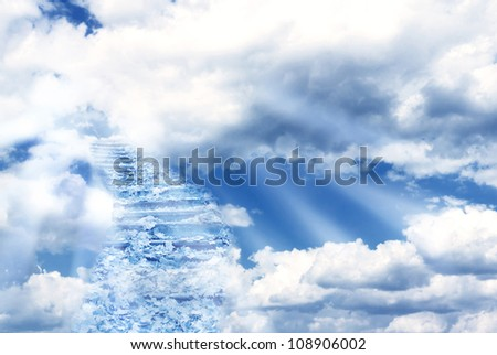 Fantasy scenery with magic stairs in sky - stock photo