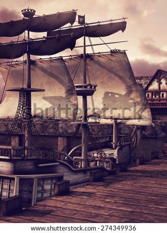 Fantasy ship in a dock in a medieval village - stock photo