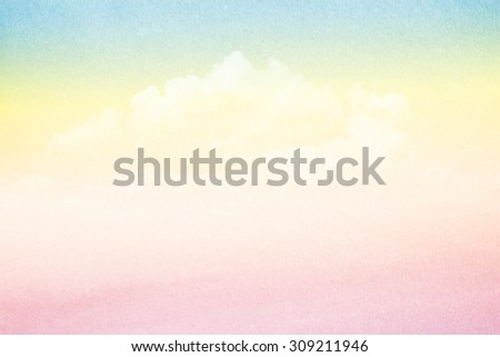 fantasy soft cloud and sky on grunge paper texture - stock photo