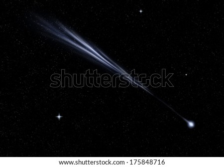 fantasy space, comet, meteor - stock photo