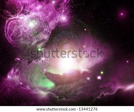 Fantasy Space Nebula - stock photo