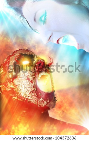 Fantasy style battle between the goddesses of ice and fire - stock photo