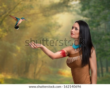 Fantasy style portrait of a female druid - stock photo