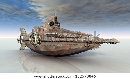 Fantasy Submarine on Dry Computer generated 3D illustration - stock photo