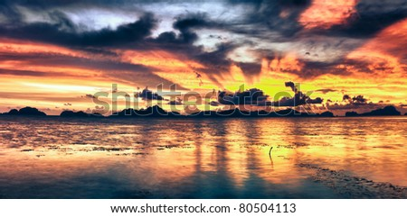 Fantasy sunset over the sea. Palawan. Philippines - stock photo