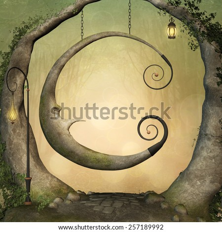 Fantasy swing - stock photo