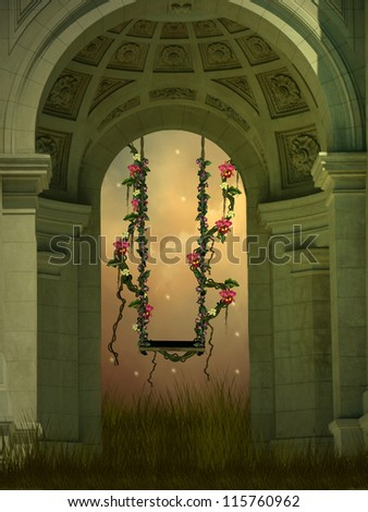 Fantasy swing with flowers in a old arch
