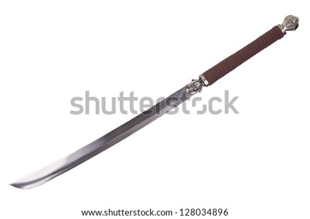 Fantasy sword isolated on white background disposed by diagonal - stock photo