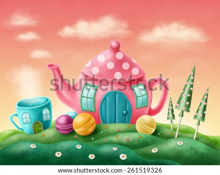 Fantasy teapot and teacup houses  - stock photo
