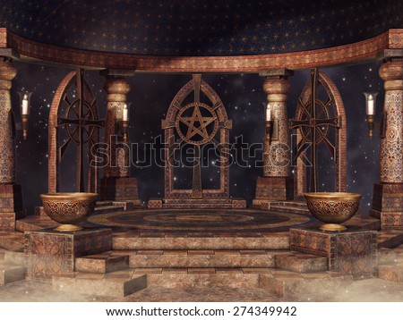Fantasy temple with candles and vases at night - stock photo