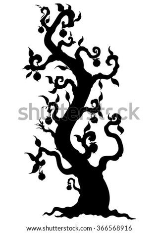 Fantasy tree silhouette. Illustration fantasy tree with fruits like apples - stock photo