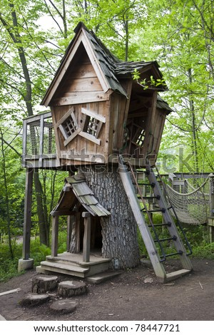 Fantasy treehouse in Inniswood Gardens in Columbus, Ohio - stock photo