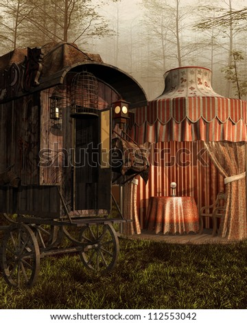 Fantasy vintage tent and cart in the forest - stock photo