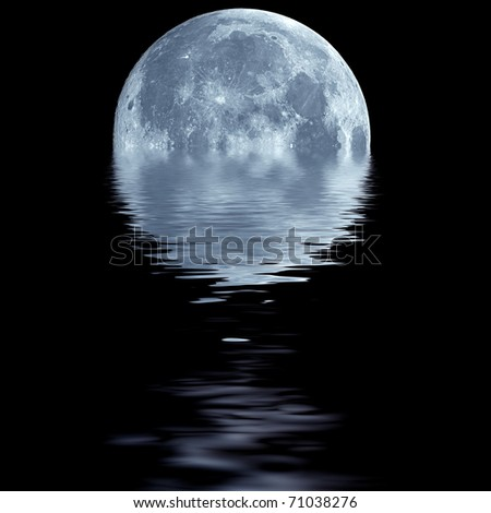 Fantasy wallpaper of blue moon over water - stock photo