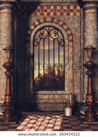 Fantasy window in an oriental palace with vases and bottles - stock photo