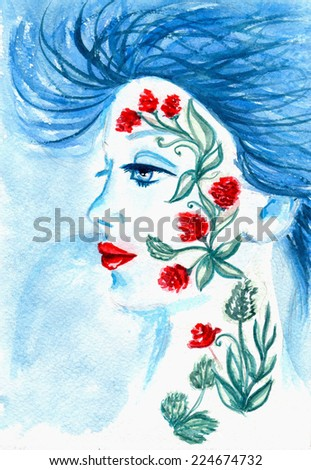 Fantasy woman with flowers on the face - stock photo