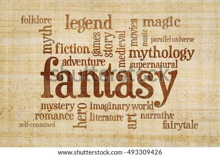 fantasy word cloud - text on a papyrus  paper