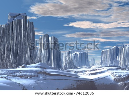Fantasy World with Ice and Snow