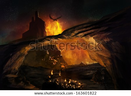 Fantasy world with marching soldiers attacking castle & flying fire dragons. - stock photo