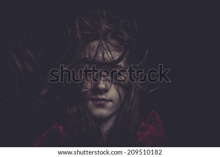 Fantasy, Young girl with hair flying, concept nightmares - stock photo
