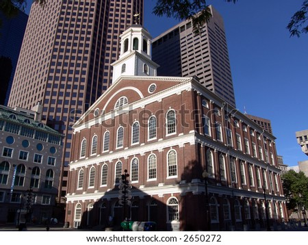 Fanueuil Hall (donated to Boston by Peter Faneuil in 1742) at Dawn in Boston. - stock photo