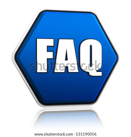 faq button - 3d blue hexagon banner with white text, business concept - stock photo