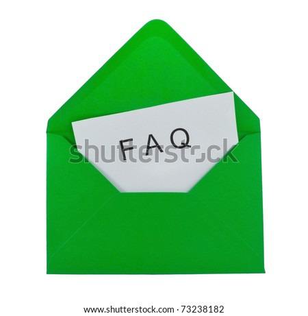 FAQ card in the green envelope - stock photo