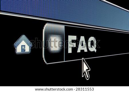 FAQ concept on an internet browser URL address - stock photo