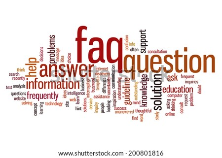 FAQ concept word cloud background - stock photo