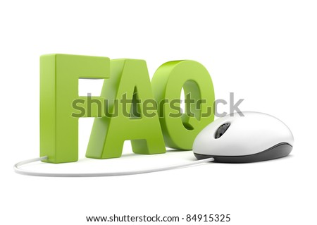 FAQ 3D text with computer mouse. Isolated on white - stock photo