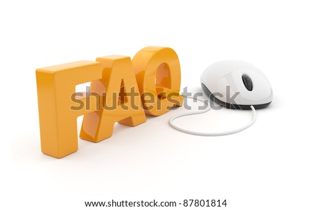 FAQ 3D text with computer mouse. Isolated on white background - stock photo