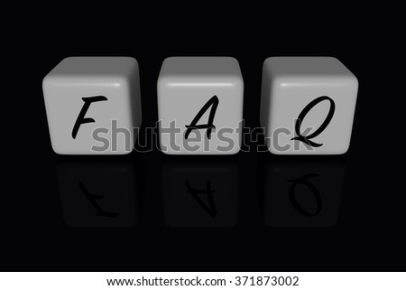 FAQ dices, black background
