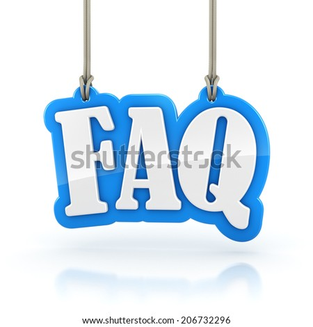 FAQ Frequently Asked Questions 3D word hanging on white background. Clipping path included. - stock photo