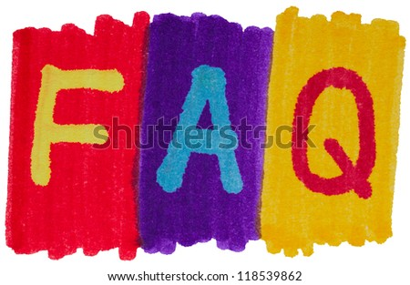 FAQ, frequently asked questions in bright colors. - stock photo