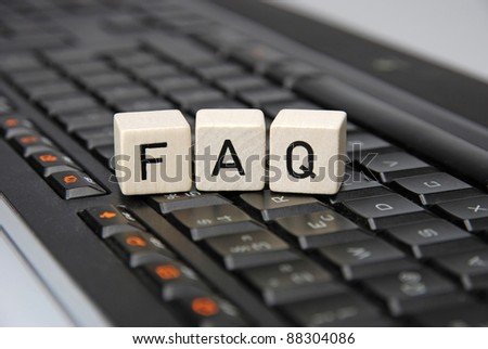 FAQ Frequently asked questions with keyboard illustration
