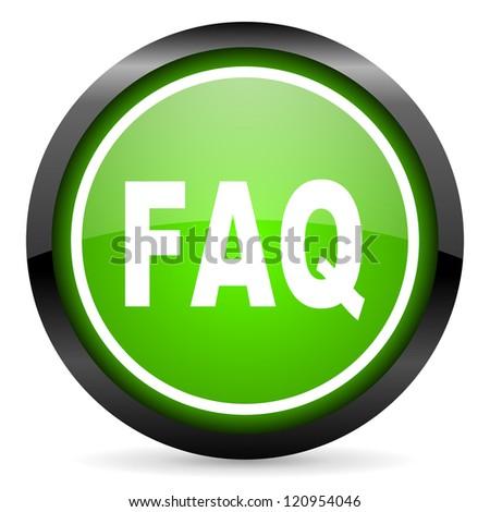 faq green glossy icon on white background - stock photo