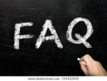 FAQ handwritten with white chalk on a blackboard  - stock photo