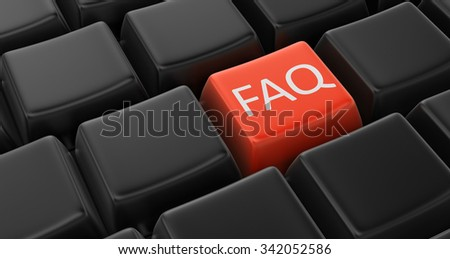 FAQ key concept. Image with clipping path - stock photo