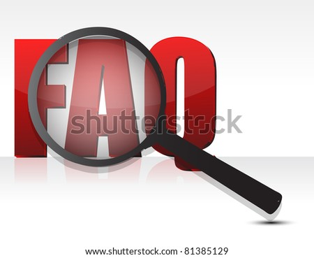 FAQ sign enlarged by a magnifying glass - stock photo
