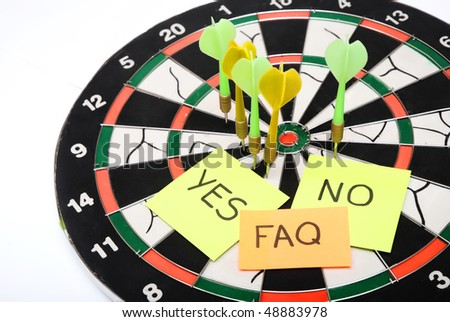 FAQ sticky note over dartboard - stock photo