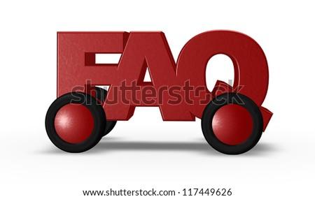 faq tag on wheels - 3d illustration - stock photo