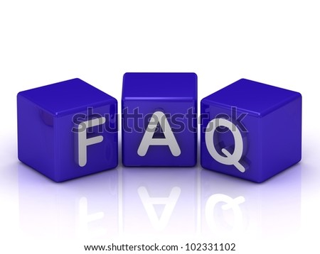 FAQ text on blue cubes on white background - stock photo