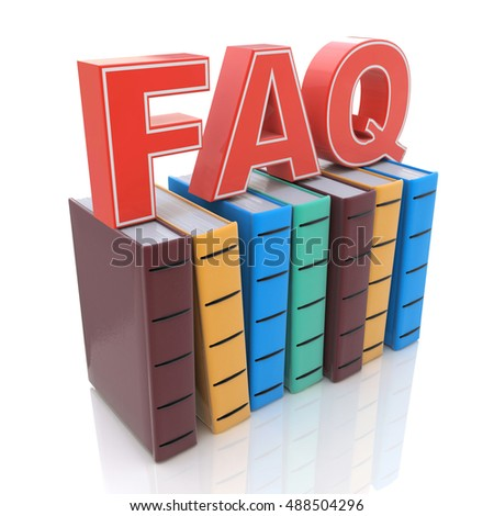 FAQ with books - search answer concept in the design of information related to frequently asked questions. 3d illustration