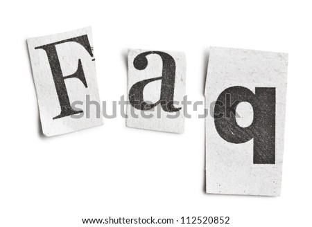 faq word made �¢??�¢??of newspaper letters on white background - stock photo