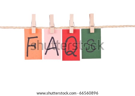 FAQS, Colorful words hang on rope by wooden peg