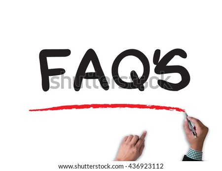 FAQs Frequently Asked Questions  businessman work on white broad, top view